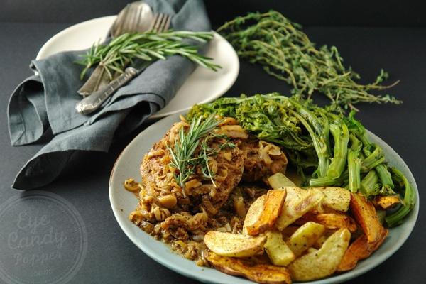 Pork chops with herbes de Provence and Dijon mustard