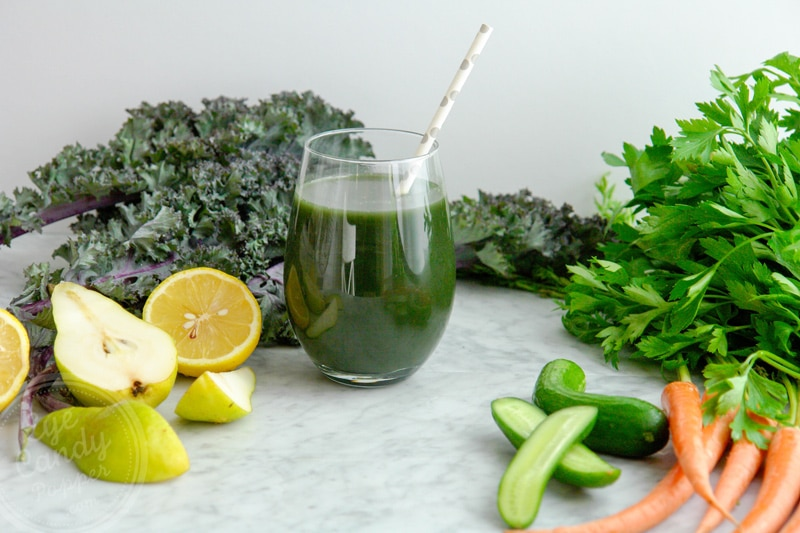 Fresh veggie juice: carrots and greens