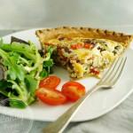 Quick weeknight vegetarian dairy-free Swiss chard and mushroom quiche
