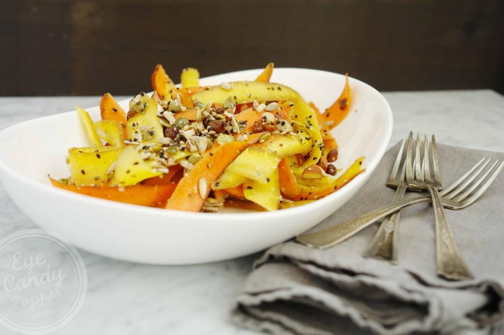 5 min carrot, sunflower and pumpkin seed salad