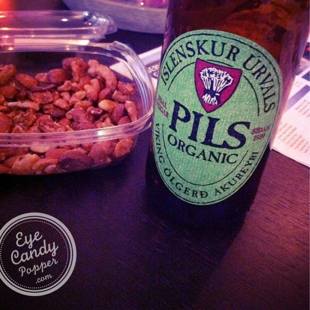 organic Icelandic beer and snacks