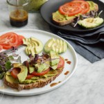 Vegan green hummus and avocado toast