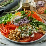10 min chickpea and feta salad with Herbes de Provence and balsamic dressing