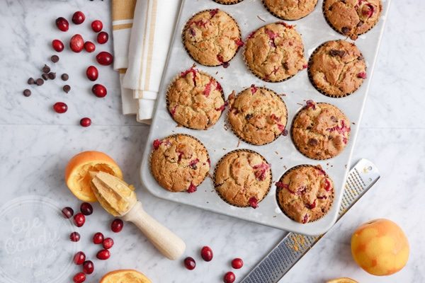 Cranberry, orange and chocolate chip low-gluten muffins