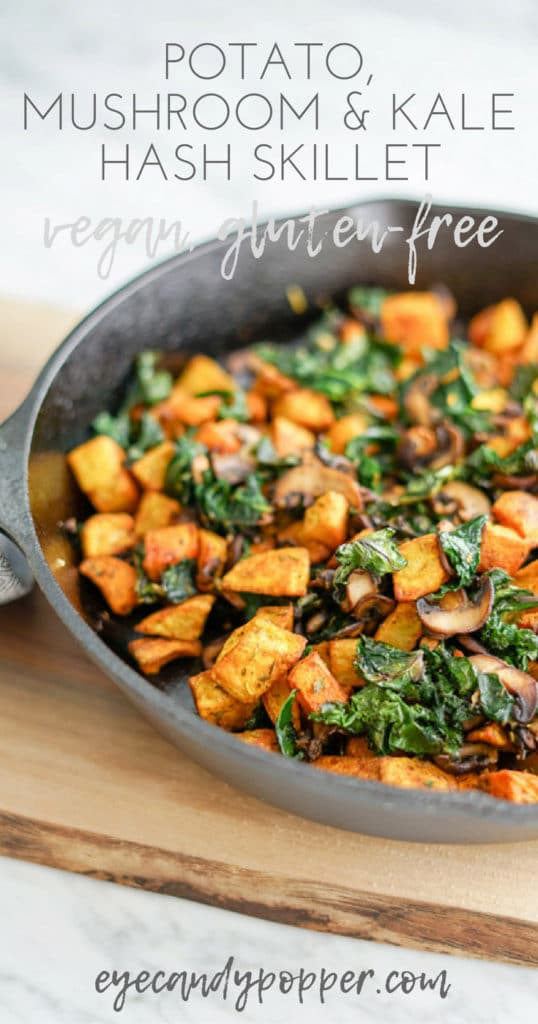 Potato, Mushroom and Kale Hash Skillet | Vegan | Gluten-Free