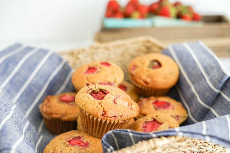 Strawberry Maple Muffins in a basket