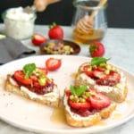 Chèvre and strawberry breakfast crostini