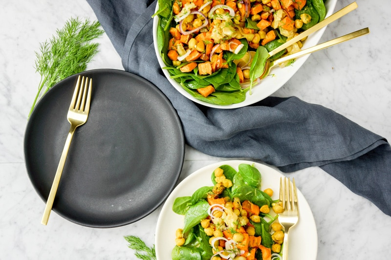 Roasted sweet potato, garlic and chickpea salad with orange dill dressing