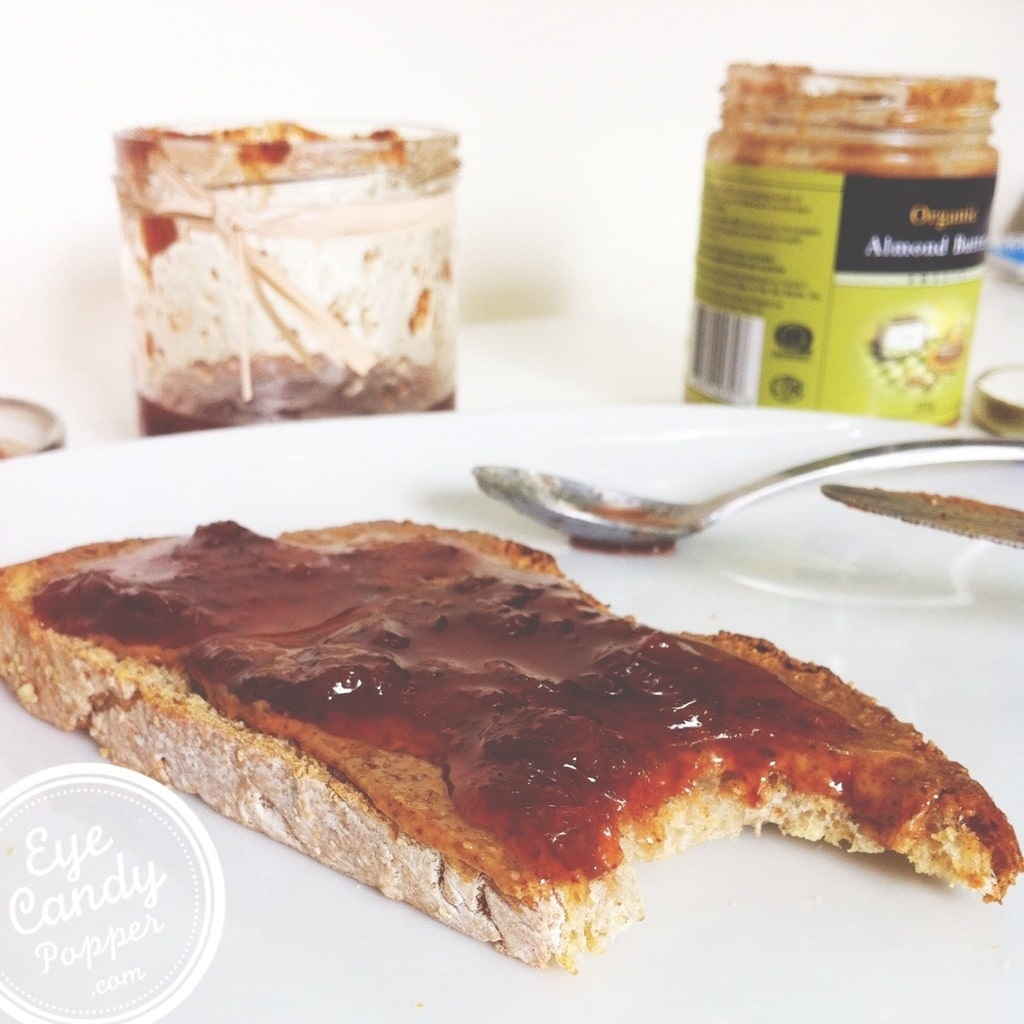 healthy bread almond butter and jam