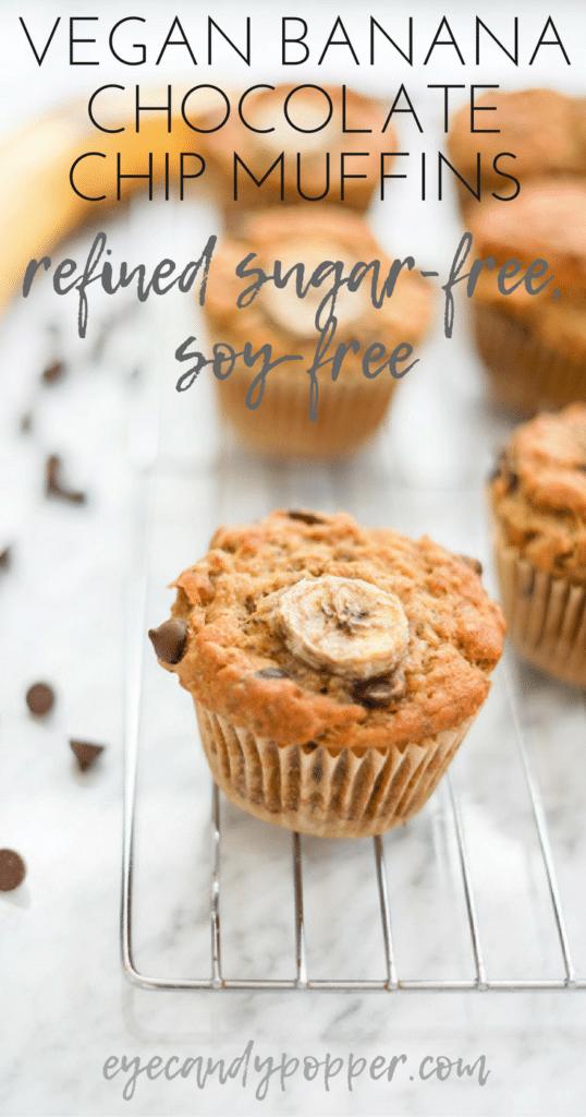 Vegan Banana Chocolate Chip Muffins | Gluten-Free Option