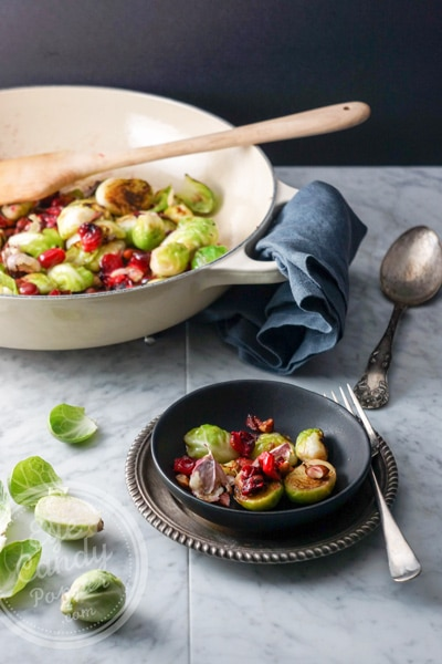 5 min side dish: Brussel sprouts, cranberries, garlic and almonds
