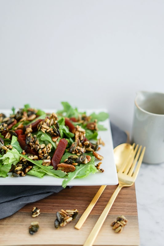 Beet Salad with Maple Candied Seeds   Vegan