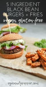 5 Ingredient black bean burger - Pinterest pin