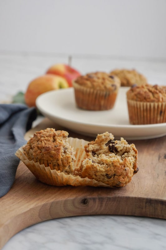 Oat, apple and almond butter muffins