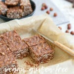Pinterest pin for healthy chocolate fudge oatmeal bars in forefront