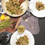 Vegan barley risotto with wild fiddleheads and asparagus