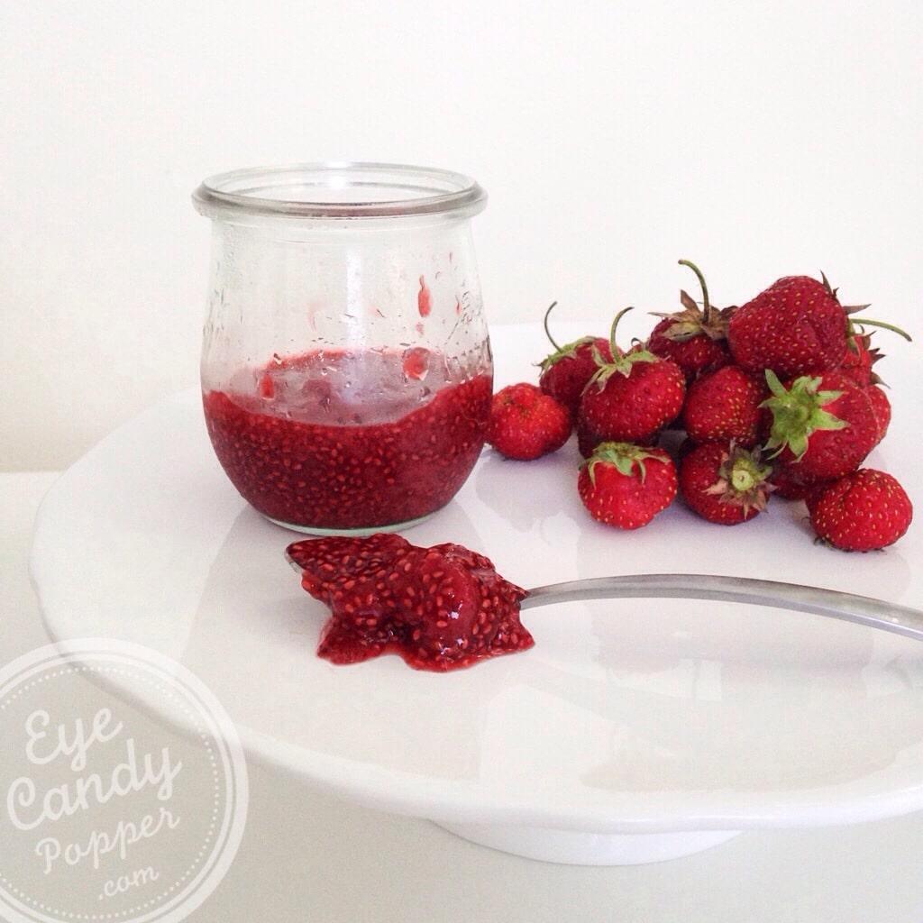 Strawberry, rhubarb and chia seed jam (vegan, no refined sugar, no pectin, paleo) | eyecandypopper.com -3