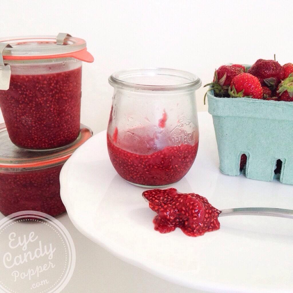Strawberry, rhubarb and chia seed jam (vegan, no refined sugar, no pectin, paleo) | eyecandypopper.com