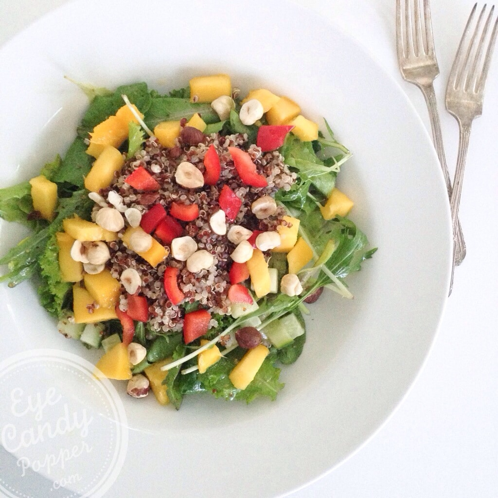 Meatless Monday: Nourishing bowl - Quinoa, mango and nut salad (vegan, gluten-free) | eyecandypopper.com
