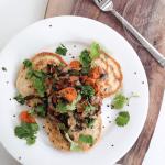 Savoury pancakes + roasted vegetables (dairy-free, gluten-free, vegan option)