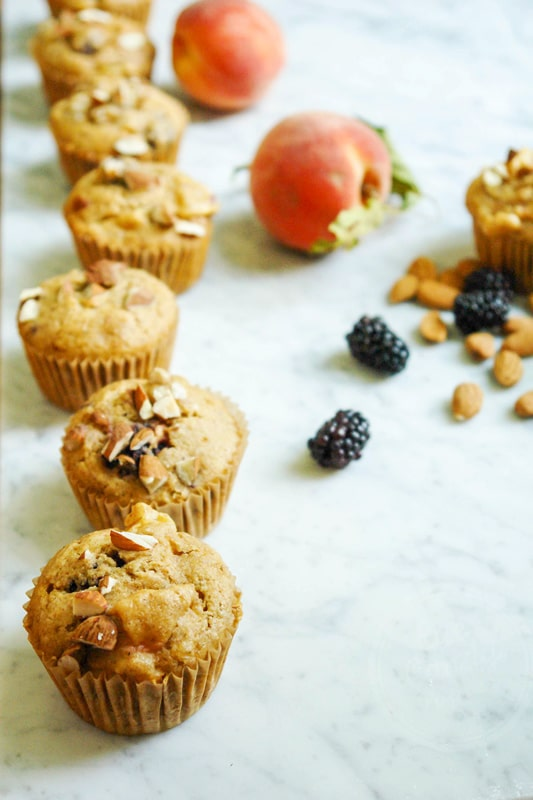 Peach blackberry muffins
