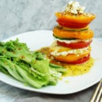 Heirloom tomato, zucchini and goat cheese stack