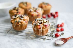 Dairy-Free Maple Pumpkin Cranberry Muffins | Refined Sugar-Free, Vegan + Gluten-Free Options
