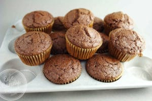 Double chocolate olive oil muffins