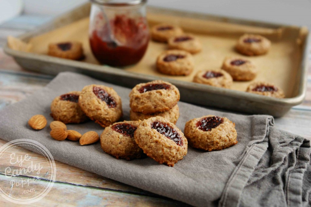 Almond Raspberry Thumbprint Cookies (vegan, paleo, gluten-free, no sugar added)