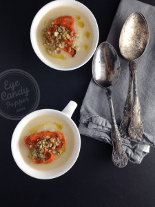 20 min cauliflower soup with carrot chips + seed crumble