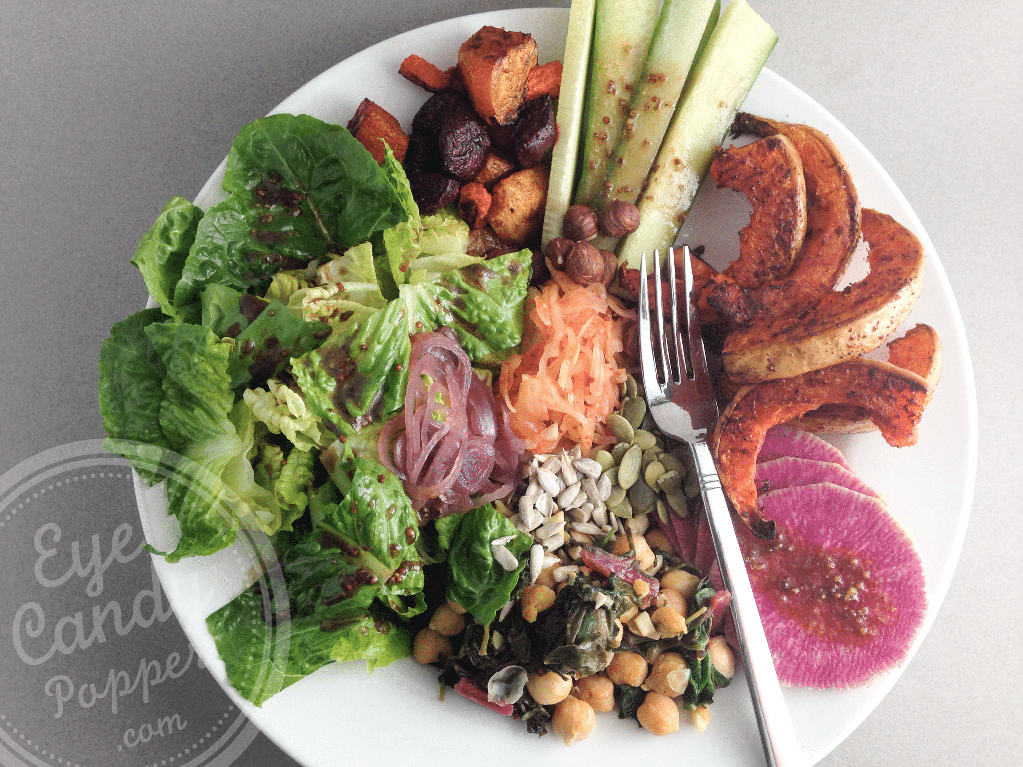 Spiced roasted butternut and beet salad bowl