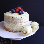 Olive oil lemon spelt sponge cake with dairy-free custard