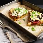 Balsamic Mushroom Toast with grain mustard and roasted beets (vegan option)