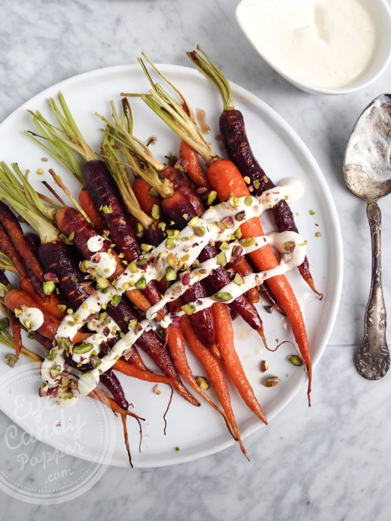 Maple roasted heirloom carrots with lemon cashew cream