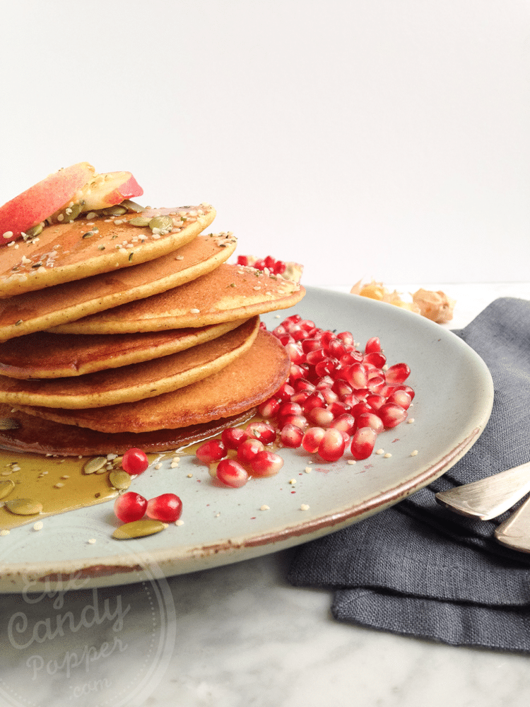 Dairy-free Pumpkin Smoothie Pancakes (vegan option)