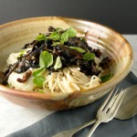 Cauliflower pasta sauce and balsamic mushrooms