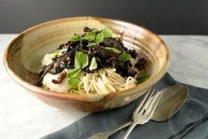 Cauliflower pasta sauce and balsamic mushrooms