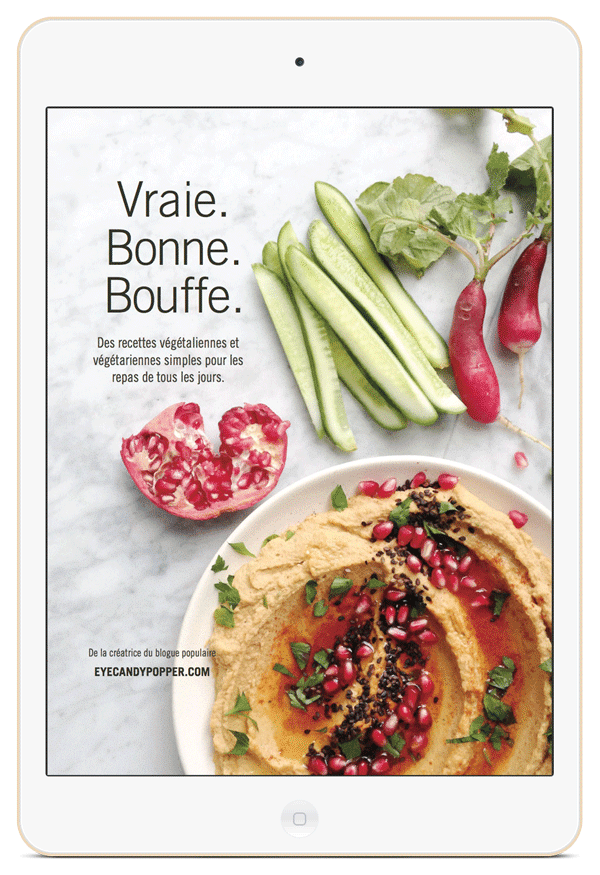 Cover of the Vraie. Bonne. Bouffe. cookbook on an iPad
