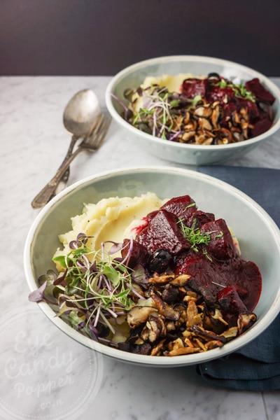 Vegan beet stew with root celery purée