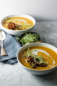 Roasted garlic and butternut soup with apple chutney