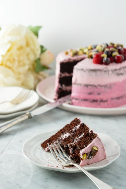 Two tone pink chocolate cake