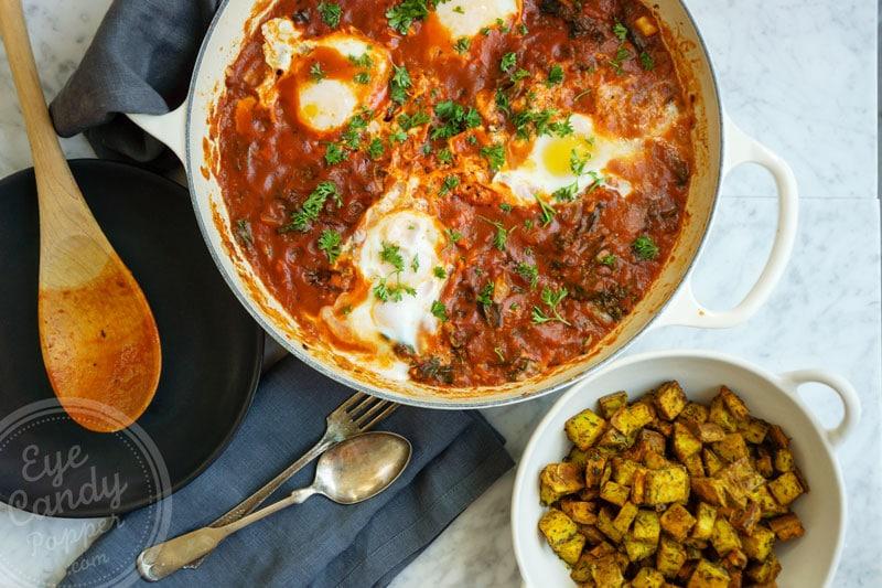 Shakshuka and roasted potatoes