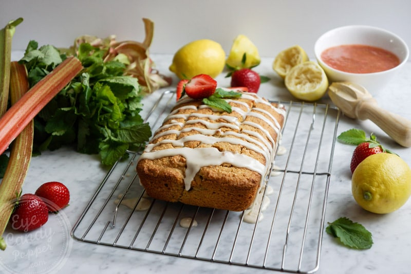 Healthy lemon rhubarb pound cake