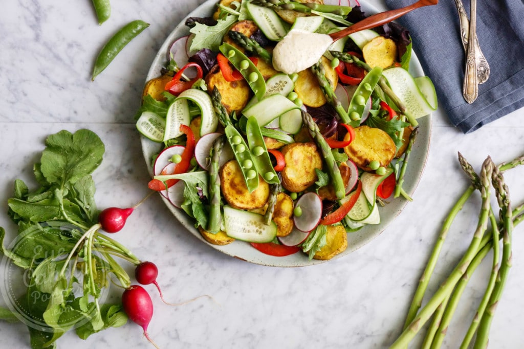 Roasted potato salad with tahini mustard dressing