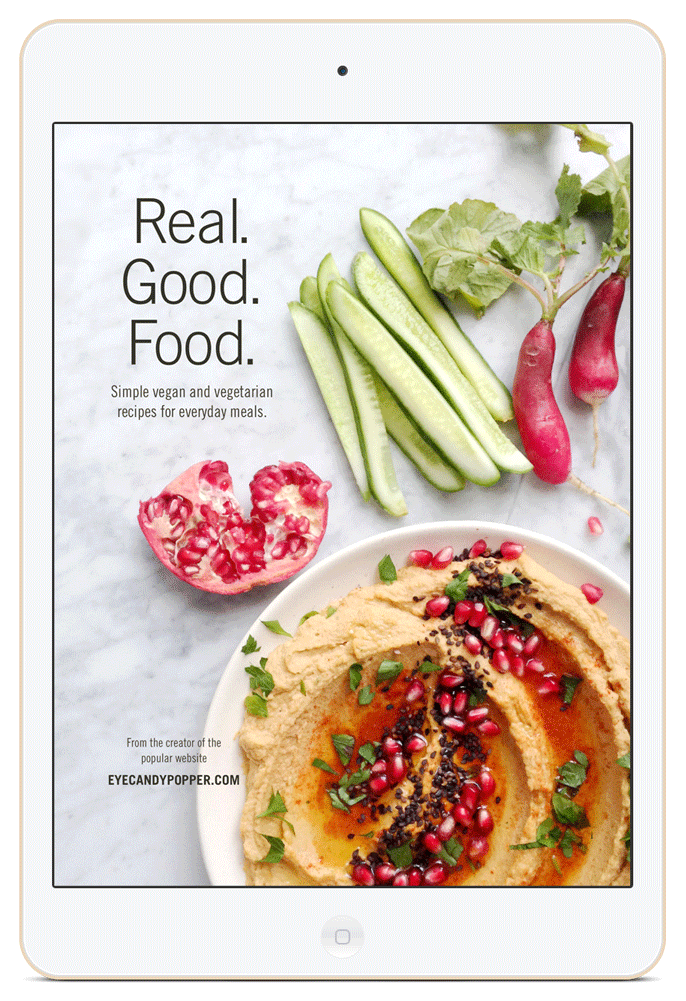 Cover of the Real. Good. Food. cookbook on an iPad