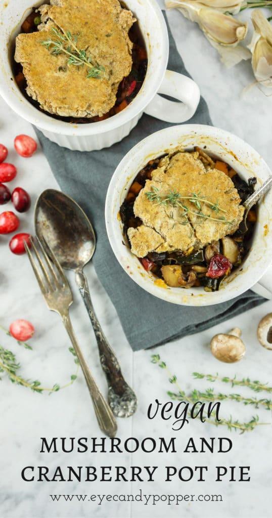 Simple mushroom and cranberry vegan pot pie for 2