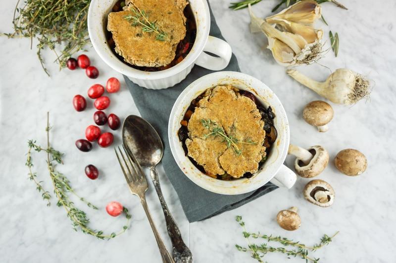 Vegan mushroom cranberry pot pie